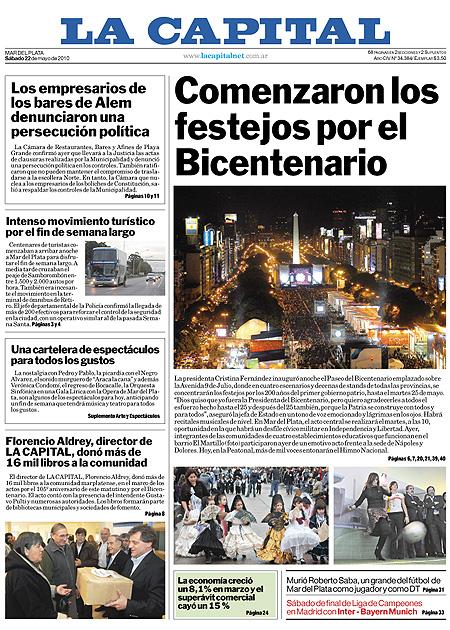 Tapa de los diarios de hoy 22/5/2010